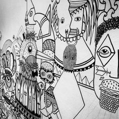 still in progress … :) #wallproject #element #paris #fresque #posca #littlemadi #b&w #paradisperdu
