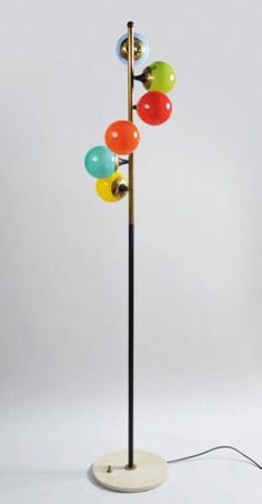 Colored Glass Floor Lamp | Stilnovo | 1960s