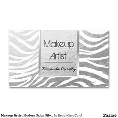 Makeup Artist Modern Salon Silver Zebra Stripe Standard Business Card