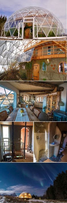 Geodesic dome protects cob house and family of 6 in Arctic Circle