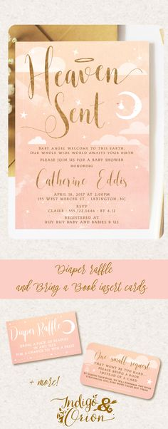 Heaven sent baby shower invitation and party printables available at www.etsy.com/listing/479128695/  #thankheavenforittlegirls #pinkandgold #angelbabyshower #indigoandorion