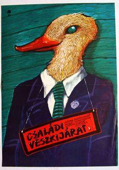 """Családi vészkijárat (1982) """"Wyjscie awaryjne"""" Director: Roman Zaluski  Hungarian vintage movie poster Artist by:Ducki Krzysztof"""