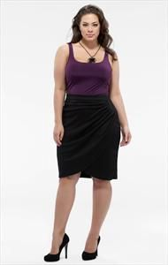 GODDESS DRAPED PENCIL SKIRT BLACK