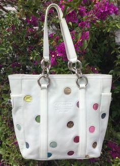 Coach Gallery Off White Polka Dot Leather Tote Handbag #9763 in Clothing, Shoes & Accessories, Women's Handbags & Bags, Handbags & Purses | eBay