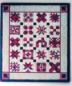 """Sampler Quilt Needlepoint by Laura Perin Design. 9"""" x 12"""" on 18 ct. canvas. Pattern: $12. I really like how she shows quilting """"lines"""" in the border."""