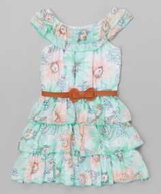 Look at this Teal Floral Belted Yoke Dress - Toddler & Girls on #zulily today!