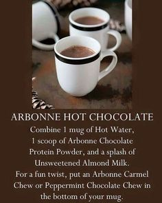 It's summer now, but hot chocolate is a favorite year round!  Make a healthier, yet delicious version with Arbonne's protein powder.  Yum!