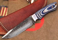 CFK USA Custom Handmade Hammered Damascus Denim Micarta Bushcraft Hunting Knife | eBay