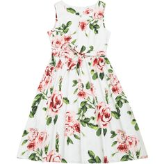 Round Collar Floral Print Belted Dress ($15) ❤ liked on Polyvore featuring dresses, white dress with belt, belted floral dress, belt dress, white floral dress and flower pattern dress
