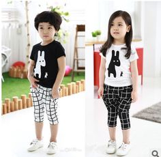 2015 children fancy clothes cute printed classic grid summer clothing sets