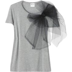 Red Valentino Bow-detailed jersey T-shirt (€150) ❤ liked on Polyvore featuring tops, t-shirts, shirts, blusas, women, short sleeve shirts, oversized jersey tee, jersey shirts, round neck t shirt and tee-shirt