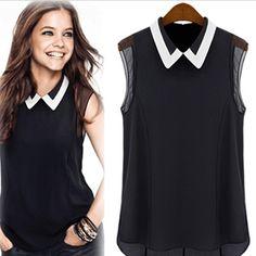 HONEY MODA 2014 Women's Chiffon Shirt Spring Summer Brand Casual Blouse Shirt Turn-down Collar Fashion Sleeveless Shirt CS4147