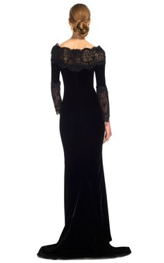 Stretch Velvet Gown With Re-Embroidered Lace Accents by Marchesa for Preorder on Moda Operandi