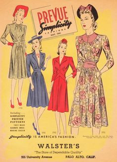 Simplicity Prevue, May 1941. #vintage #1940s #dresses #fashion