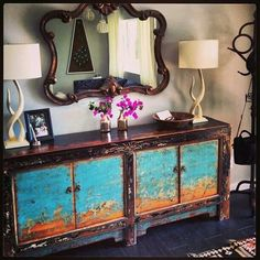 Primitivie rustic shabby chic console table