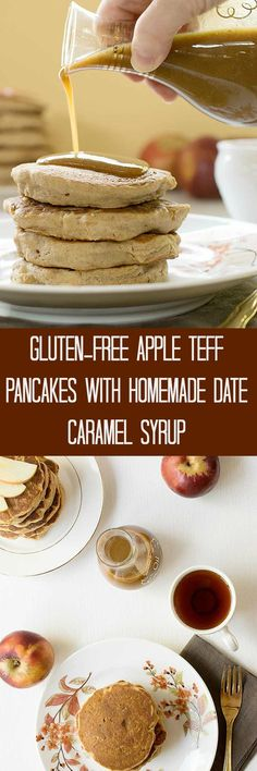 Celebrate another awesome fall morning with these Gluten-free Apple Teff Pancakes with Homemade Date Caramel Syrup. Great for weekends, holidays or any time you'd like a healthy breakfast that tastes like dessert. Low Carb Vegan Breakfast, Healthy Vegan Dessert, Cake Vegan, Vegan Breakfast Recipes, Vegan Food, Vegetarian Breakfast, Vegan Baking, Brunch Recipes, Breakfast Ideas