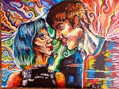 """ . #finish#love#art#painting#acrylic#couple#color#colorful#paint#bluehair#instaart#instagood#arts_help#sharingart#artwork"""