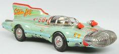 Tin Litho Atom Jet Friction Race Car Toy.