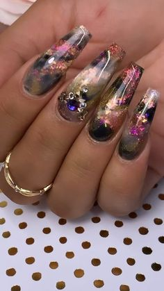 Smokey layered gold nails [Video] in 2020 (With videos) Dope Nails, Glam Nails, Fancy Nails, Bling Nails, Stud Nails, Jewel Nails, Bling Nail Art, Fancy Nail Art, Gold Nail Art