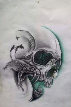Sake Source by shacochris Evil Skull Tattoo, Skull Tattoo Design, Tattoo Design Drawings, Tattoo Sleeve Designs, Skull Tattoos, Tattoo Sketches, Body Art Tattoos, Skull Stencil, Tattoo Stencils
