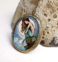 Mermaid by Moonlight --Wearable Art Locket, Art Nouveau, Original Watercolor Painting, Nautical Jewelry. $50.00, via Etsy.