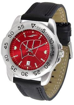 University of Wisconsin Badgers Men's Leather Band Sports Watch