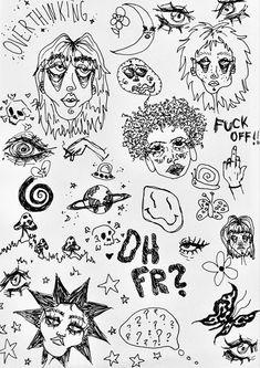 Arte Grunge, Grunge Art, Cool Art Drawings, Art Drawings Sketches, Pretty Art, Cute Art, Arte Punk, Psychedelic Drawings, Hippie Painting