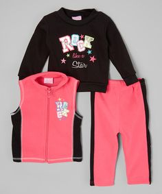 Loving this Hot Pink 'Rock' Fleece Vest Set - Infant & Toddler on #zulily! #zulilyfinds