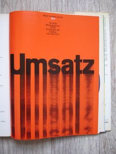 Swiss Graphic Design - Graphis Annual - 1965/66  TheMc Notes | I wonder what Umsatz is? Anyway, this smear/blur of the type is dope. Mostly because it speaks to using what you have to create an interesting visual effect. Photoshop can be overwhelming because you have tons of resources within the program. I guess it's time to start flexing effects one at a time to begin to understand what resources are at my fingertips.