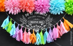 DIY Tissue Paper Tassel Garland and Pom Poms