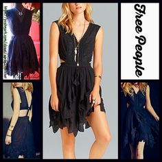 "FREE PEOPLE Hi Lo Black Honeysuckle Rose Dress RETAIL PRICE: $250 NEW WITH TAGS   FREE PEOPLE  * A-Line, relaxed fit, & tank straps  * Beautiful embellished crochet eyelet & lace trim & open cutout back & sides  * Back button closure  * Approx 32""-38"" long  * Lightweight, lined semi pleated fabric, Cocktail short prom  ***Tagged size 12 (L) will approx. fit sizes 10-12.  Fabric: Rayon & Cotton Color: Black Item:91790  No Trades ✅ Offers Considered*/Bundle Discounts✅  *Please use the blue…"