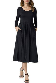 Womens Long Sleeve T-Shirt Dress Ladies A Line Swing Midi Dress Tops Vest Colors