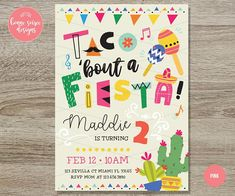 Fiesta Birthday Invitation // 5x7 Taco Party Invite Cactus