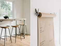 Butcher paper on a roll in kitchen for lists