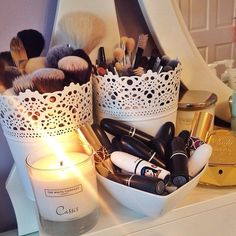 Love this idea for make up brushes combs etc (give me an excuse for buying matching brushes)