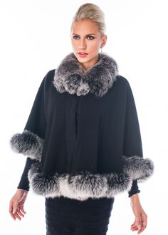 Black Cashmere Cape - Frosted Silver Fox - Duchess from Madison Avenue Mall - Our latest style in cashmere - the Duchess cape has a snug fox collar that All Fashion, Latest Fashion For Women, Winter Fashion, Fashion Trends, Fashion Inspiration, Winter Poncho, Cashmere Cape, Poncho Coat, Fur Trim