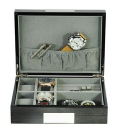 50c1e8892 Grey Ginko Lacquered Wood 4 Piece Watch Cufflink Case & Ring Storage  Organizer Men's Jewelry Box