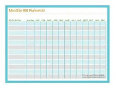 monthly printable bill paying chart yahoo search results - Bills Organizer
