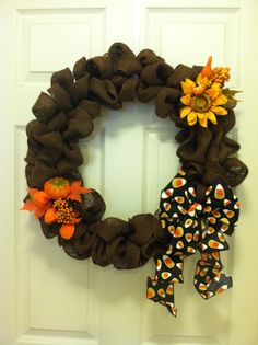 A burlap wreath for Halloween & Fall. Used the chocolate brown burlap.