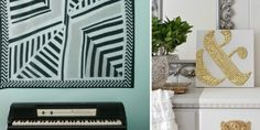 """You asked for it! Easy ways to refresh your rooms with DIY wall art. Pick up your canvas VIA Amazon. 1. Glue wood letters to a canvas, spray paint the whole thing one color     VIA Inspiration for Moms. You could also try """"drawing"""" or lettering directly on a canvas with school glue, then painting o..."""