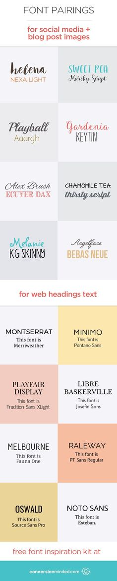 Free Fonts and Font Pairings for the Web, Social Media and Blog Post Images | I've been in a bit of a font craze lately hunting for the perfect fonts to use for Pinterest and Instagram, and  I'm sharing some gems I discovered so you can use them too! Click through to see and download the fonts!