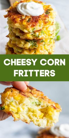 These easy to make fritters are loaded up with fresh corn, flavor, and most importantly cheese! Fried in a small amount of olive oil, these fritters are the perfect way to enjoy the flavors of summer! Side Dish Recipes, Vegetable Recipes, Vegetarian Recipes, Cooking Recipes, Healthy Recipes, Fresh Corn Recipes, Recipe For Fresh Corn, Easy Yummy Recipes, Soft Food Recipes