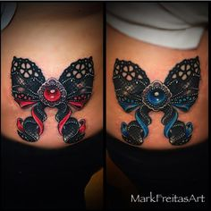 Gem and colors, double bow Lace Bow Tattoos, Baby Tattoos, Body Art Tattoos, Sleeve Tattoos, Moños Tattoo, Corset Tattoo, Bow Tattoo Designs, Lace Tattoo Design, Cancer Tattoos