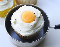 Fried Egg Cupcake  butterscotch candy or  yellow frosting