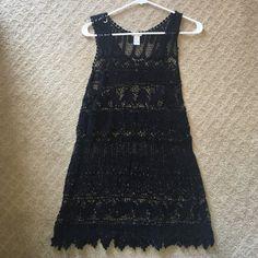 Crochet black dress Size S/M, black crotchet style dress, great for festival season, great condition worn once, super comfortable Forever 21 Dresses Mini