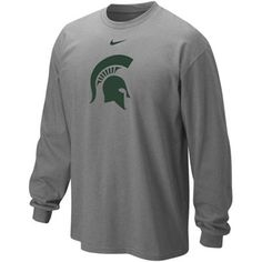 Nike Michigan State Spartans Classic Logo Long Sleeve T-Shirt - Ash Size Medium College Football, Michigan State University Football, Football Gear, Basketball Store, College Shirts, Oregon Ducks, Nike, Long Sleeve Shirts, T Shirt
