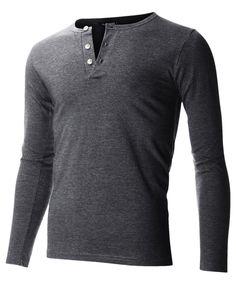 42251932038 FLATSEVEN Men s Slim Fit Casual Long Sleeve Henley T Shirt (THL100) Women s  Henley