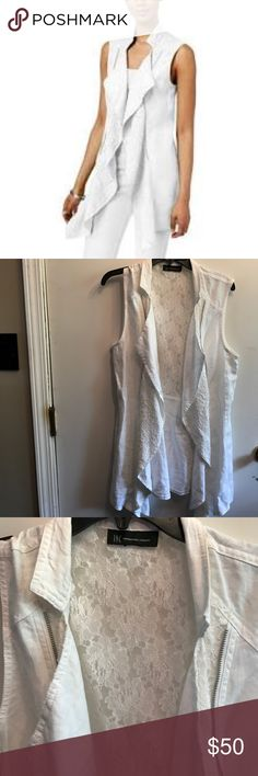 "INC linen  & Lace Draped Zip Insert Vest Jacket INC linen  & Lace Draped Zip Insert Vest Jacket. Throw it on & let the good times roll! Excellent condition worn once. Sz 14 XL 42"" bust & 30"" length from neck to hem. No trades. INC International Concepts Tops"