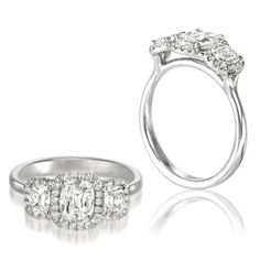 This 3 stone Henri Daussi engagement ring is differen from your average 3 stone! Note how flush the diamonds fit to the band. CCM_ACM  <3CapriJewelers