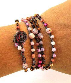 Jewelry OFF! Crochet wrap bracelet or necklace beaded petals pink brown bohemian jewelry crochet jewelry fiber jewelry fall fashion ooak Bohemian Jewelry, Beaded Jewelry, Jewelry Bracelets, Handmade Jewelry, Ethnic Jewelry, Crochet Bracelet, Bead Crochet, Diy Necklace, Jewelry Crafts
